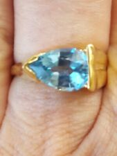Blue Topaz Pear Cut Ring 10kt Solid Yellow Gold