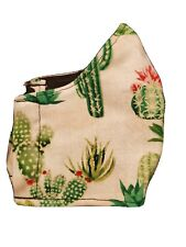 HANDMADE COTTON FACE MASK - Cactus - Adult size fits most- Free Shipping