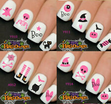 Halloween Nail Nails Art Water Transfer Decal Wraps Stickers Boo Pink Witches