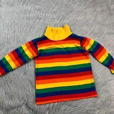 Vintage Toddler Girls Boys Healthtex Knit Rainbow Stripe Long Sleeve