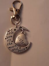 Silver Keyring I Love You To The Moon And Back Infinity Beyond  Sister Charms