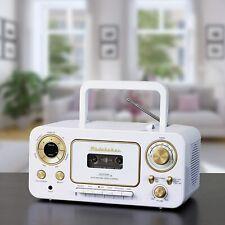 Studebaker Rétro Stéréo Avec CD Cassette & Radio - Blanc/Or Couleur