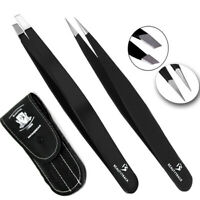 BeautyTrack Black Eyebrow Tweezers Hair Beauty Slanted Stainless Steel Tweezer 2