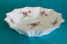 SHELLEY CHINA ROSE SPRAY Nut Candy Dish #13545  Fluted Shape w/Pink Trim
