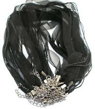 BLACK Color Ribbon Cord Necklace 18 inch with 2in extender, 10 Qty
