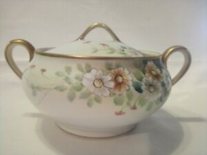 Nippon Hand Painted Two Handle Cracker Jar With Beaded Daisies