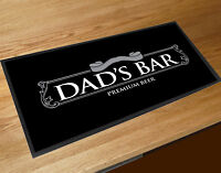 Fathers Day Gift Dad's Bar silver beer label Idea bar runner counter pub mat