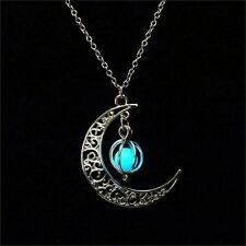 Luminous Glow in The Dark Moon Pendant Necklace Jewelry Halloween Xmas Gifts Blue Green