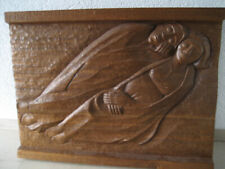 EXPRESSIONIST, HOLZRELIEF, signiert, datiert, sakral, 16,4 kg, 70 x 92 cm