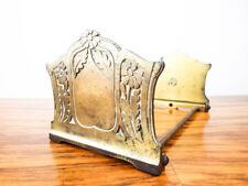 Vintage Art Nouveau Metal Sliding Book Holder Bookends Brass Floral Book Ends