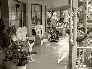Victorian porch wicker chairs sepia photo CHOICES 5x7 or request 8x10 or digital