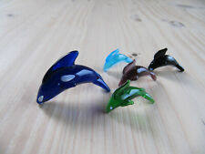 Vintage Miniature Glass Animal, Murano Pod of Dolphins / Whales Figure