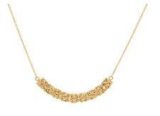 """16"""" Technibond Polished Station Byzantine Necklace 14K Gold Clad Silver"""