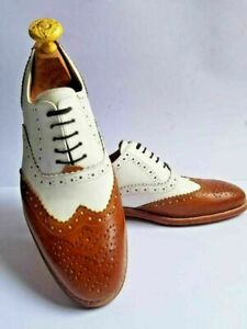 Formal Lace Up Shoes Genuine Leather Brogue Style Oxford racking and White Made