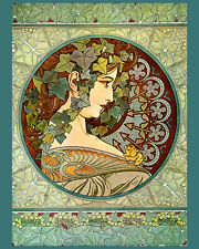 "Alphonse Mucha Fashion Lady Ivy Looking Right 16""X20"" Vintage Poster FREE SH"