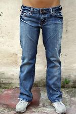NUOVO senza etichetta Guess jeans blu scolorito dritti in denim stretch donna w29 l28 UK 12