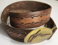 Vintage Hand Crafted Leather Belt W Brass Buckle Freeform Design Unisex Western