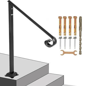 Iron Handrail Fits 2 to 3 Steps Handrail Stair Railing Outdoor Porch Hand Rails