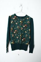 Oasis Womens Floral Print Panel Knitted Jumper Top Green Size Small (L-MM7)
