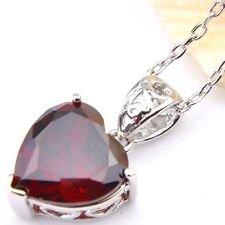 Lovely Lady Valentine's Gift Red Garnet Gemstone Silver Necklace Pendant Jewelry