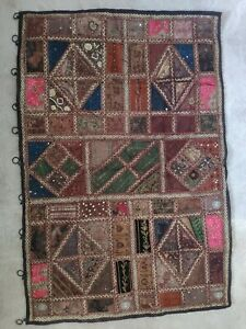 Indian Vintage Wall Tapestry Handmade Embroidered Patchwork Wall Hanging Throw