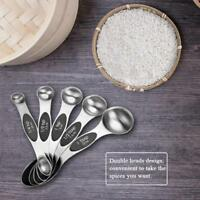 5X Magnetic Double Head Stainless Steel Measuring Spoons Measure Utensil Cooking