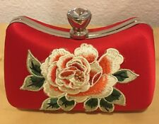Red Evening Hard Clutch with chain/handle, flower embroidery