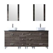 72'' Brown Bathroom Vanity Cabinet w/ Ceramic Vessel Sink Faucet Drain Mirror