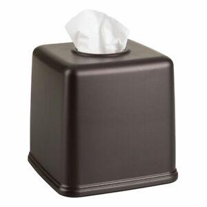 mDesign Plastic Square Facial Tissue Box Cover Holder for Bathroom - Bronze