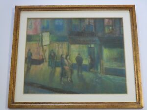 ANTIQUE ART DECO DRAWING EXPRESSIONISM NIGHT LIGHT CITY STORES NY? MODERNISM WPA