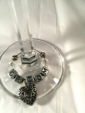 Bride & Groom Wedding Keepsake Champagne Flutes w/ Bride & Groom Wine Charms #2
