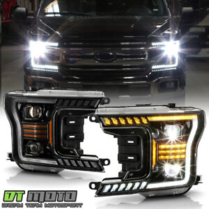 2018-2020 Ford F150 LED Tube Sequential Turn LED Projector Headlights Headlamps
