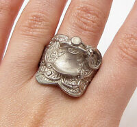 925 Silver over Brass - Vintage Art Deco Cocktail Ring Sz 12 - RG2795