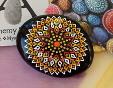 Hand Painted Alchemy Amplification Stone with Red, Orange, Yellow, Gold & White
