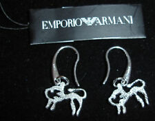 ARMANI SILVER DIAMOND CUT ZODIAC LEO EARRINGS