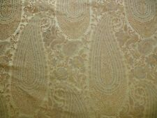 "FAB 100% SILK LAMPAS CASHMERE PAISLEY ""FLAX"" IVORY YD"
