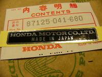 Honda CB 750 Four K0 K1 K2 Aufkleber * Honda Motor Co., Ltd * Plate, name
