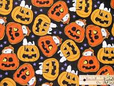 Snoopy Woodstoock Peanuts Pumpkin Jack-o-Lantern Halloween Fabric by the Fat Qtr