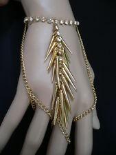 Women Bracelet Gold Spikes Hand Chain Slave Silver Rhinestones 3 Finger Rings