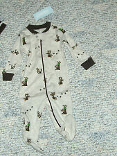 "NWT - Gymboree ""Raccoon Buddies"" one pc footed sleep n play- up to 5 pounds boys"