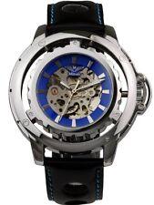 Minoir Uhren - Modell Loury silber/blau mit Kronenschutzbügel - XL Herrenuhr