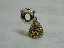 Clogau Sterling Silver & Yellow Gold Wedding Cake Bead Charm with Floral Bead