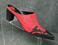 J. Renee Red/Black RODEO Slip On Mule Western Heels Shoes Snip Toe Size 10.5 NEW