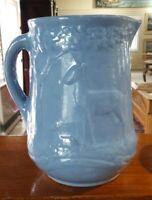 ANTIQUE VINTAGE ♡ BLUE SALT GLAZED STONEWARE HOMESTEAD MILK WATER PITCHER DEER