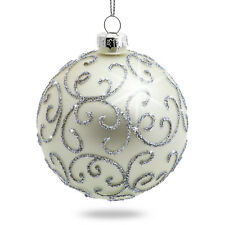 SIKORA Set of 4 Christmas Tree Hanging Decor Glass Baubles 'Highlight' Silver