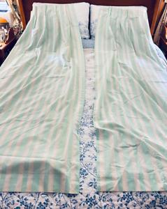 LAURA ASHLEY for Burlington Green Stripes Drapes Curtain Panels- Set of Two