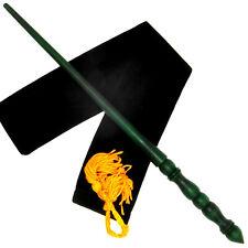 "14"" Hand Turned Almond Wood Green Magic Wand Wizard Wicca w/ Velvet Bag"