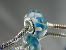 925 SILVER STAMPED MURANO GLASS BEAD FOR EUROPEAN STYLE CHARM BRACELETS #DC 213
