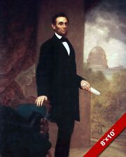 ABRAHAM LINCOLN W SPEECH IN HAND US PRESIDENT OIL PAINTING ART REAL CANVAS PRINT