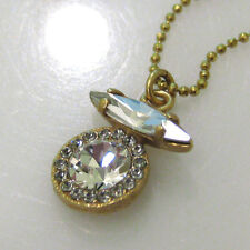 NWT ~ La Vie Parisienne Gold Art Deco Circle Crystal Drop Pendant Necklace 864G